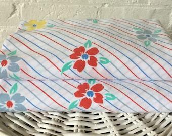 Pair of Nile single flat sheets Vintage floral fabric Caravan bedding Vintage striped fabric Vintage bedding