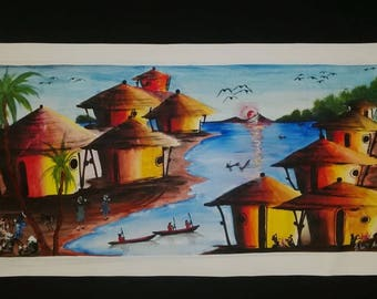 The Fishermen-Colorful Painting-Fishing-Lifestyle-Africa Painting-African Artwork-African Life-Africa Lifestyle-Apartheid-African Pride