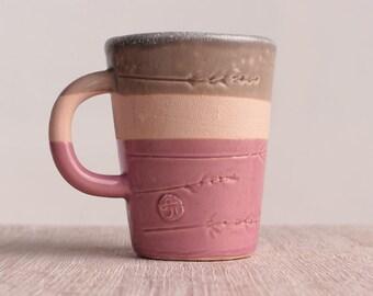 Ceramic mug, coffee cup, handmade, modern ceramic, pink mug, stoneware, coffee mug, teacup, tasses
