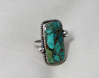 Turquoise with Copper // Sterling Silver Ring // Handmade