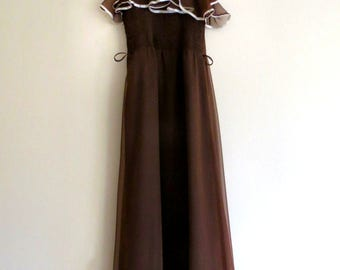 Vintage It's You branded Long chocolate brown Marcia prom type dress 8-10