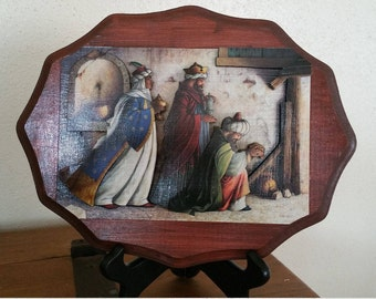 Decoupage Three Kings Mix Media Christmas Decoration Religious Christian Magi Handmade