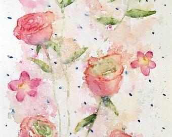 Loose Rose Pattern Original Watercolor Painting 5.75 x 8.75