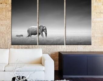Wild Elephant Wall Art Canvas Print, Elephant Canvas, Zebra Print, Elephant Canvas Art, Elephant Wall Art, Africa Wild Life, Elephant Art,