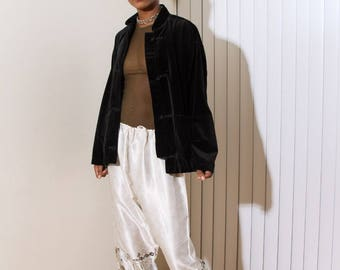 90s Vintage GAP Black Velour Velvet Oriental Style Jacket M/L