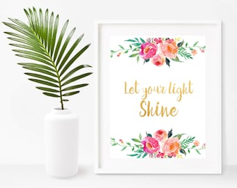 Let Your Light Shine, Printable Art, Matthew 5 16, Bible Verse Print,  Scripture Quote, Instant Download, Home Decor, Wall Decor