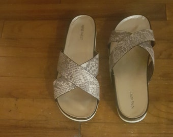 Nine West Snake Print Slides