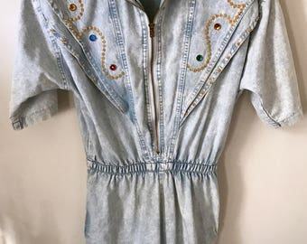 Vintage 80s Bedazzled Denim Romper by Rio Inc