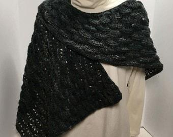 Hand knit Shawlette  - Cozy Curl  Shape - Merino wool hand painted yarn in charcoal/grey/black