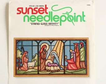 """Sunset Needlepoint 1978 """"Stained Glass Nativity""""  Colorful Design by Wayne Maurer - Fits 10"""" x 20"""" frame"""