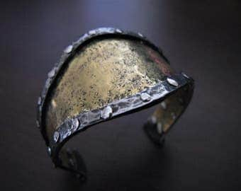Stainless steel and riveted brass Cuff Bracelet