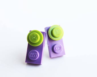 Purple and Lime green Funky Stud Earrings