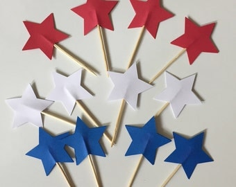 Set of 12 Red White Blue Star Tooth Picks for Cupcakes, Fruit, Cheese or Relishes