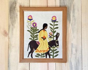 vintage 1970s crewel art | Southwest embroidered wall hanging | framed wall art