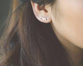 Scribble Ear Pin Earrings (3 colors)
