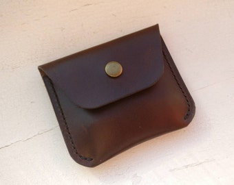 Leather coin purse, Leather coin pouch, Mens leather coin wallet, Horween Chromexcel