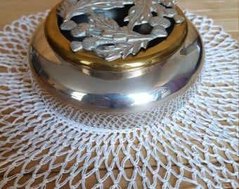 Potpourri holder. pewter thistle topped. handmade in Sheffield,Edwin Blyde