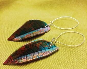 Leaves polymer clay earrings
