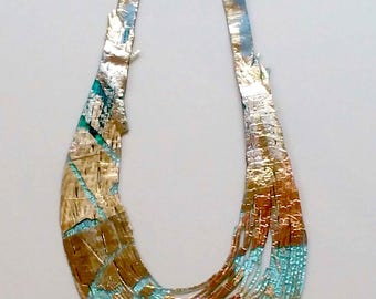 Silver, turquoise and gold reversible resin necklace