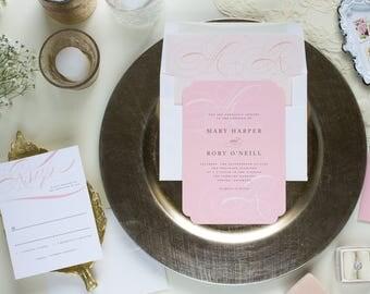 Blush Wedding Invitation Monogram, Formal Wedding Invitation Romantic, Peach Wedding Invitation Elegant, CORDIALLY SUITE