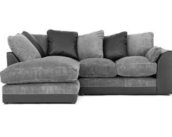 Brand New Dylan jumbo Cord Corner Sofa Black /Gray Settee | 1 Year Warranty | Spring Base | 6 Different Color Available