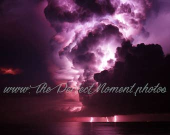 Lightning - Lightning Bolts - Thunder - Storm - Thunderstorm - Nature - Digital Photo - Digital Download - Beach - Water - Pier - Florida