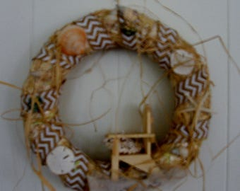 "Sand and Sea 14"" Straw Wreath"