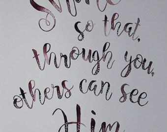 Quote Watercolor Aquarelle Christian Handlettering C.S. Lewis Print