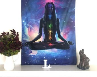 New Chakra meditating tapestry hanging wall decor - bedroom, yoga studio, meditation room