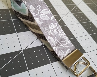 Grey Leaf Key Fob Wristlet