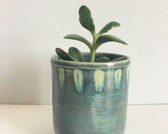 Handmade Ceramic Planter, Deep Blue Green Succulent Planter,  Medium Plant Pot/Planter, Home Accent