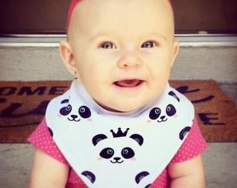 Baby Bandana Bib, Cool 2 Drool Bib, Baby / Toddler Bandana Bib, Drool Bib, Fashion Bibdana, Stylish, Princess, Crown, Pandas, Panda, Knit