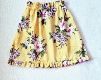 girls maxi skirt - Hawaiian floral  Skirts - long skirts -  Yellow  Skirt - girls skirts - toddler outfits - kids clothes - girls clothing