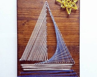 boat painting by string art