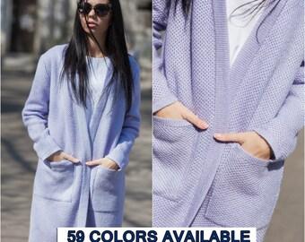 Blue lilac knit coat chunky knit cardigan lilac cardigan long cardigan for women spring women coat oversize cardigan pocket fashion coat