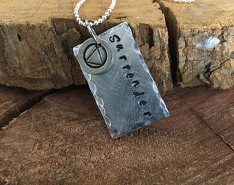 Recovery Sobriety Gift, Surrender Necklace, AA Alcoholics Anonymous