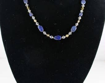 Petite Lapis Lazuli & Citrine Necklace