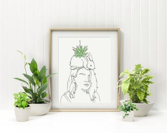 Girl with Rabbit and Succulent Art Print, Woman and Nature Illustration, Minimal Plant Artwork Printable