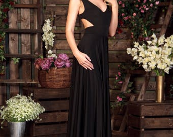 Black Dress Maxi with Open Back, Special occasion sexy Dress, Formal Dress, Evening gowns, Evening dress, Sleeveless dress, Party dress