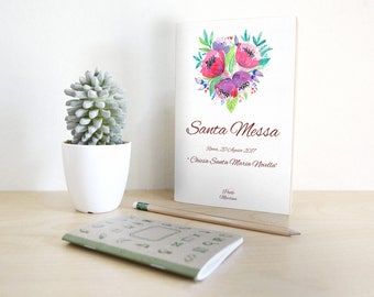 Mass marriage booklet combines with invitations. Floral style on purple.