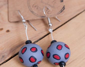 Red and Grey Animal Print Earrings
