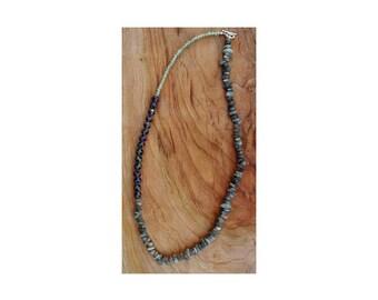 Labradorite chip bead asymmetrical necklace, purple, green, crystal, metaphysical, gemstone, boho jewelry, statement necklace