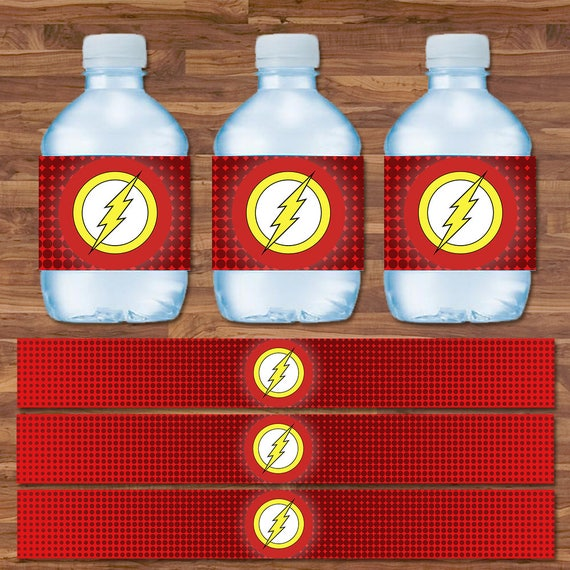 The Flash Drink Labels - Flash Water Bottle Labels - Red & Yellow Logo - Flash Birthday - Flash Printables - Flash 9.75 x 1.25 Inches