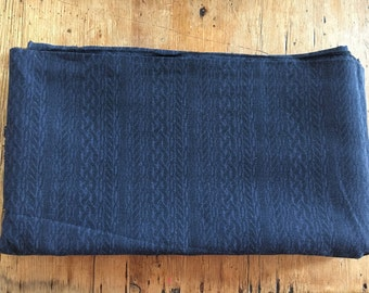 Navy blue rope print cotton fabric - 3 metres
