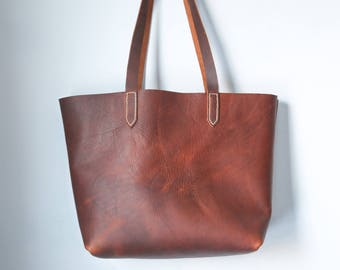 Leather Tote - Everyday Leather Tote - Leather Tote Bag - Market Bag - Carry All bag - Leather Laptop Bag - Brown Tote - Leather Handbag