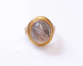21K Gold Rutilated Quartz Vintage 1960's Ring