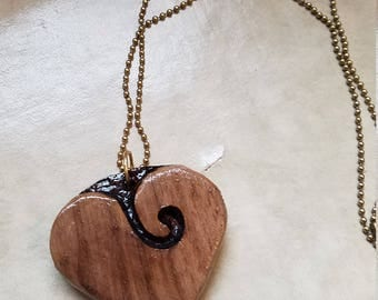 walnut wood heart necklace. pendant,charms, heart,necklace,handmade