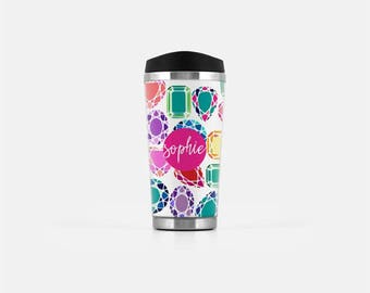 Personalized Travel Coffee Mug, Diamonds Travel Mug, Bling Travel Tumbler, Monogram Coffee Mug, Stainless Steel Mug, To Go Coffee Cup, 16 oz