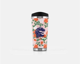 Dinosaur Travel Mug, Floral Travel Mug, Clever Girl Mug, Pink Travel Mug, Cute Coffee Mug, Stainless Steel Mug, Tumblr Aesthetic, 16 oz
