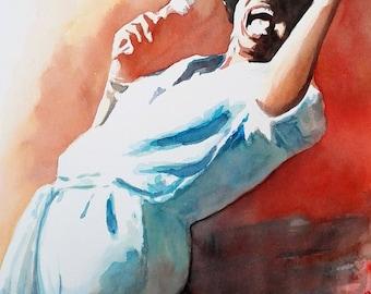 Watercolor Painting Jazz Singer
